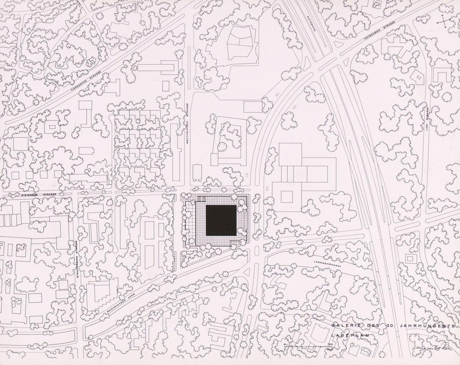Ludwig Mies van der Rohe: Präsentationsmappe für den Bau der Neuen Nationalgalerie, Lageplan, Foto: (c) bpk / Kunstbibliothek, SMB / Dietmar Katz