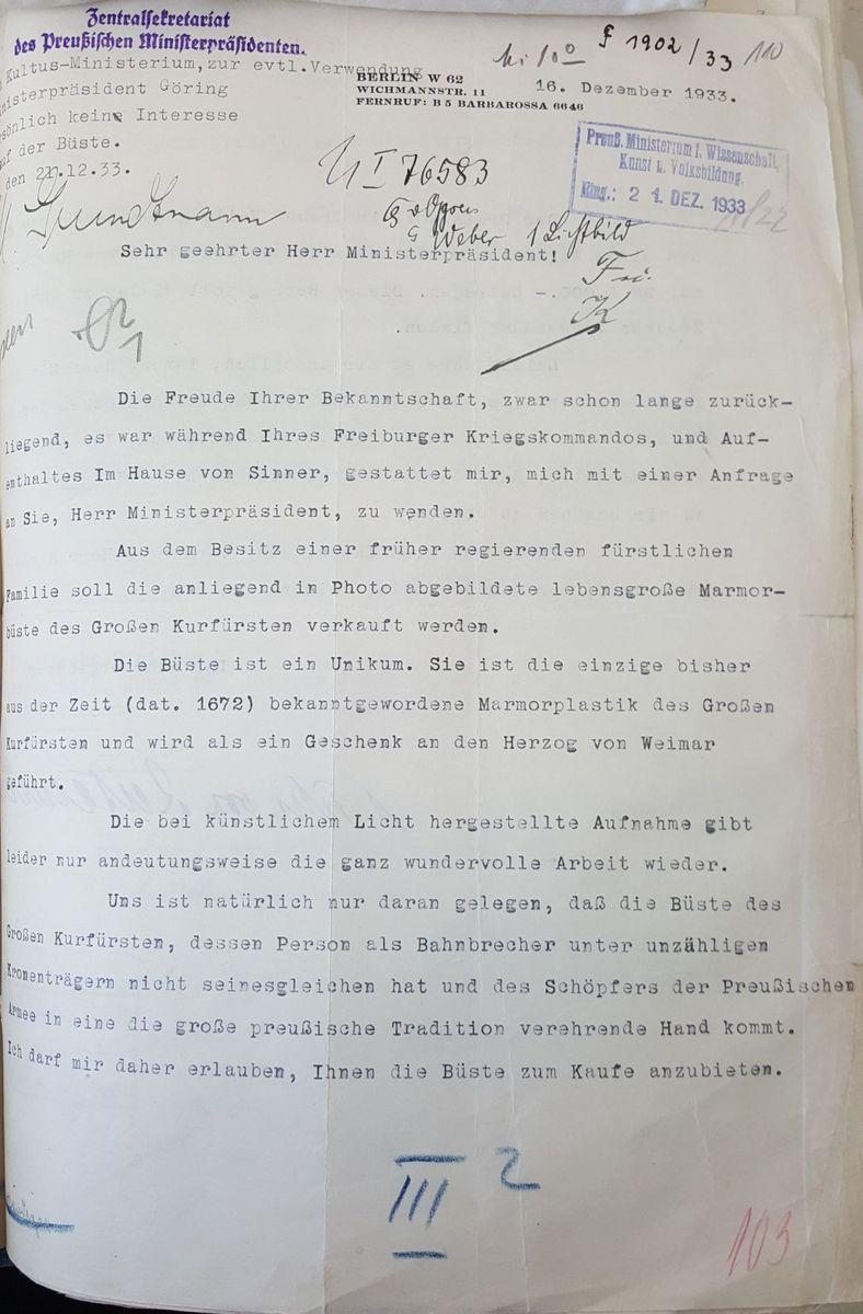 Das ursprüngliche Anschreiben des Freiherrn von Reitzenstein.  © Staatliche Museen zu Berlin, Zentralarchiv