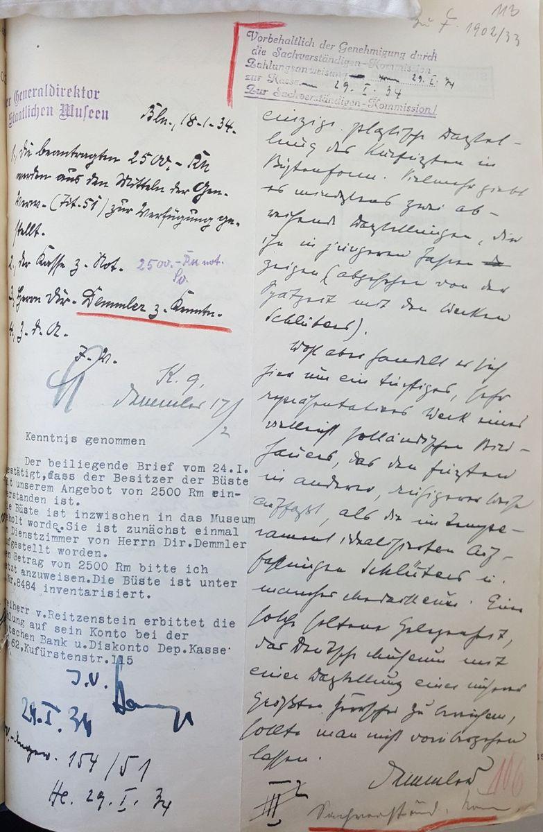 Eine Notiz von Dr. Theodor Demmler, 1934 © Staatliche Museen zu Berlin, Zentralarchiv