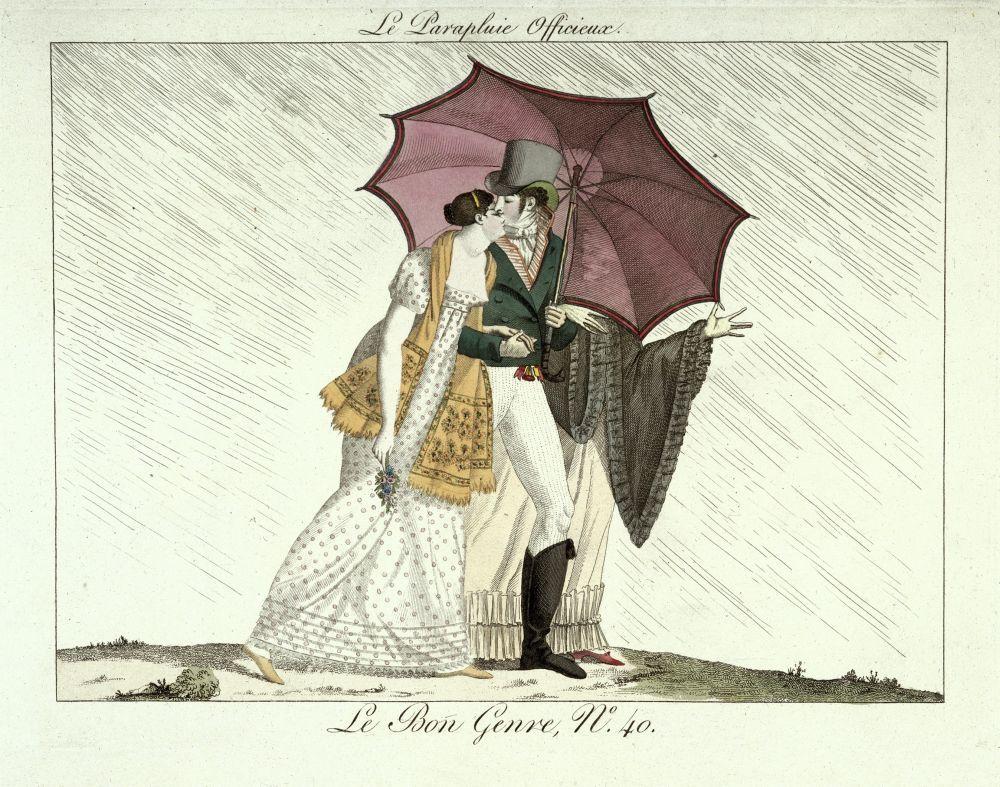"""""""Unter einem Regenschirm ..."""", Kupferstich aus: """"Le Bon Genre"""", Nr. 40, um 1810 © Staatliche Museen zu Berlin, Kunstbibliothek / Knud Petersen"""
