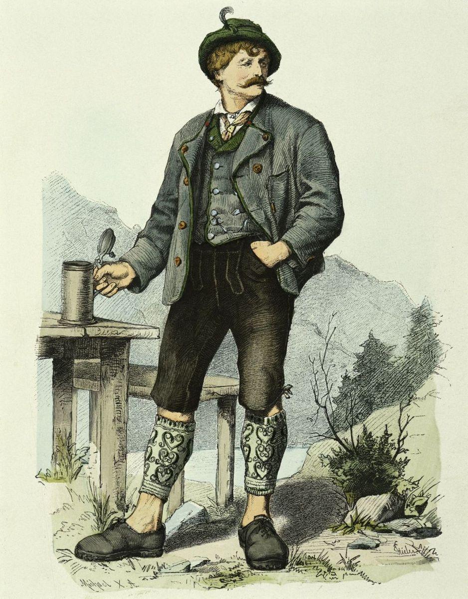 Bauer aus Tegernsee in Oberbayern  (um 1855) von Michael nach einer Zeichnung von Eugen von Stieler © bpk / Kunstbibliothek, Staatliche Museen zu Berlin / Knud Petersen