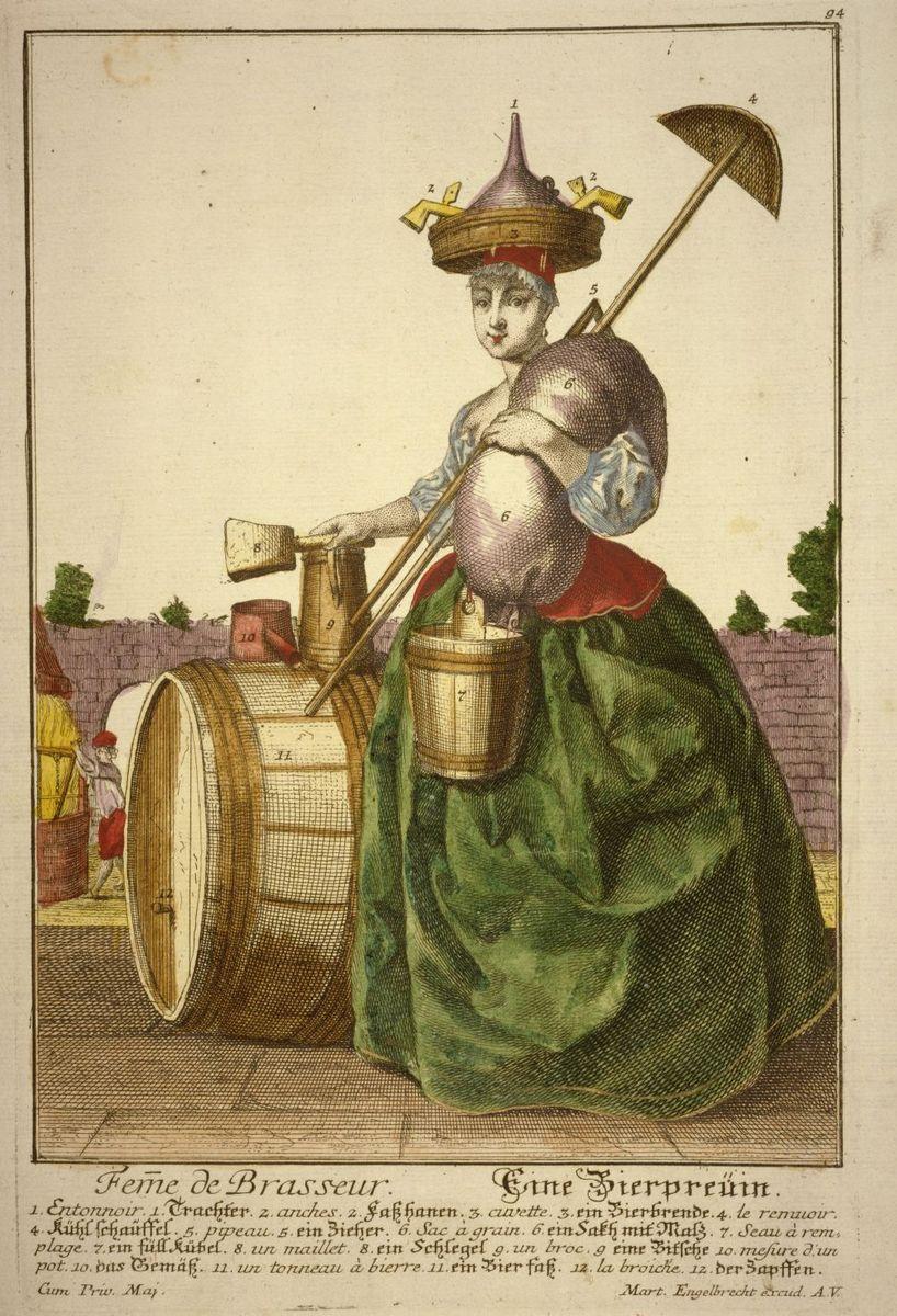 """""""Eine Bierpreuin"""" (Bierbrauerin) Kupferstich, koloriert, (um 1730) von  Martin Engelbrecht  © bpk / Kunstbibliothek, Staatliche Museen zu Berlin / Knud Petersen"""