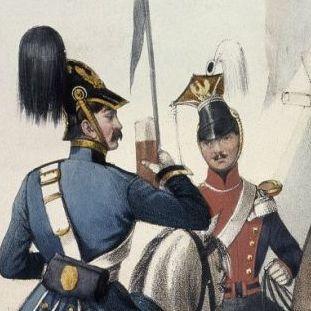 Preußische Soldaten mit ihrer Standarte, in den Jahren 1843-45, Lithografie. © bpk / Kunstbibliothek, Staatliche Museen zu Berlin