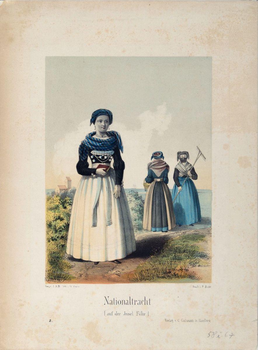 Nationaltracht auf der Insel Föhr, kolorierte Lithografie, um 1850, © Museum Europäischer Kulturen – Staatliche Museen zu Berlin / Dietmar Katz
