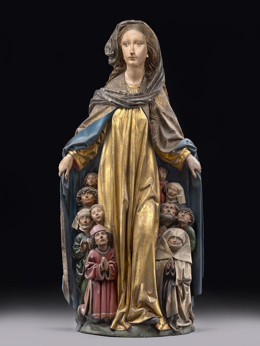 Maria mit dem Schutzmantel, Michel Erhart, ca. 1480, Lindenholz mit ursprünglicher Fassung, Skulpturensammlung und Museum für Byzantinische Kunst, © SMB, Skulpturensammlung und Museum für Byzantinische Kunst, Antje Voigt