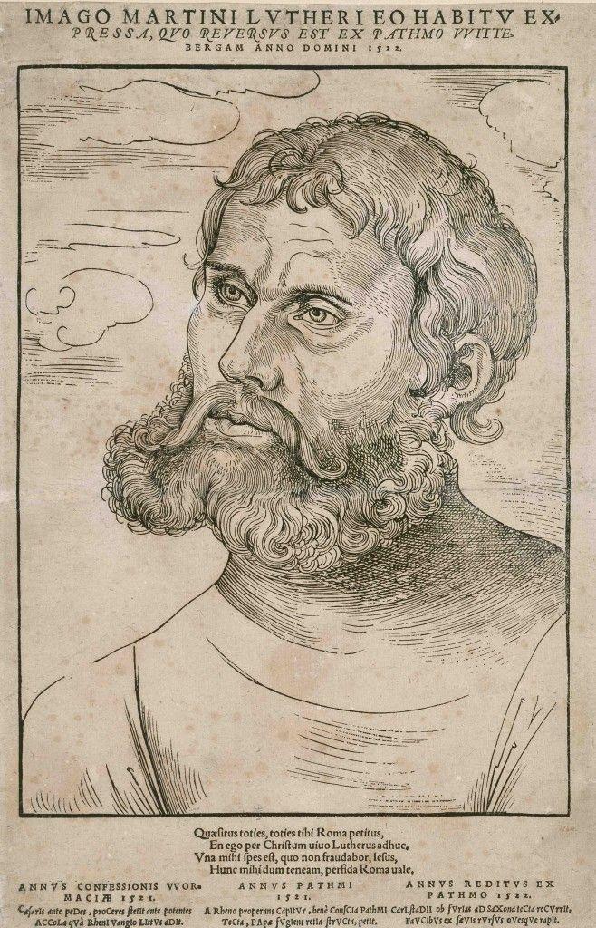 Nach Cranach: Luther als Junker Jörg, 1522, Holzschnitt © Staatliche Museen zu Berlin, Kupferstichkabinett