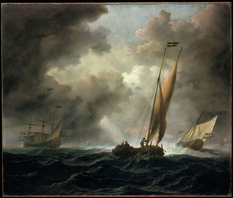 "Willem van de Velde d. J.: ""Holländische Kaag vor stürmischem Wind"", 17. Jh.; Copyright: bpk / Gemäldegalerie, SMB / Jörg P. Anders"