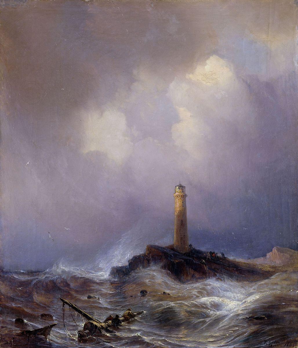Jean Antoine Théodore Gudin:  Leuchtturm an der Bretonischen Küste, 1845; Copyright:  bpk / Nationalgalerie, SMB / Andres Kilger