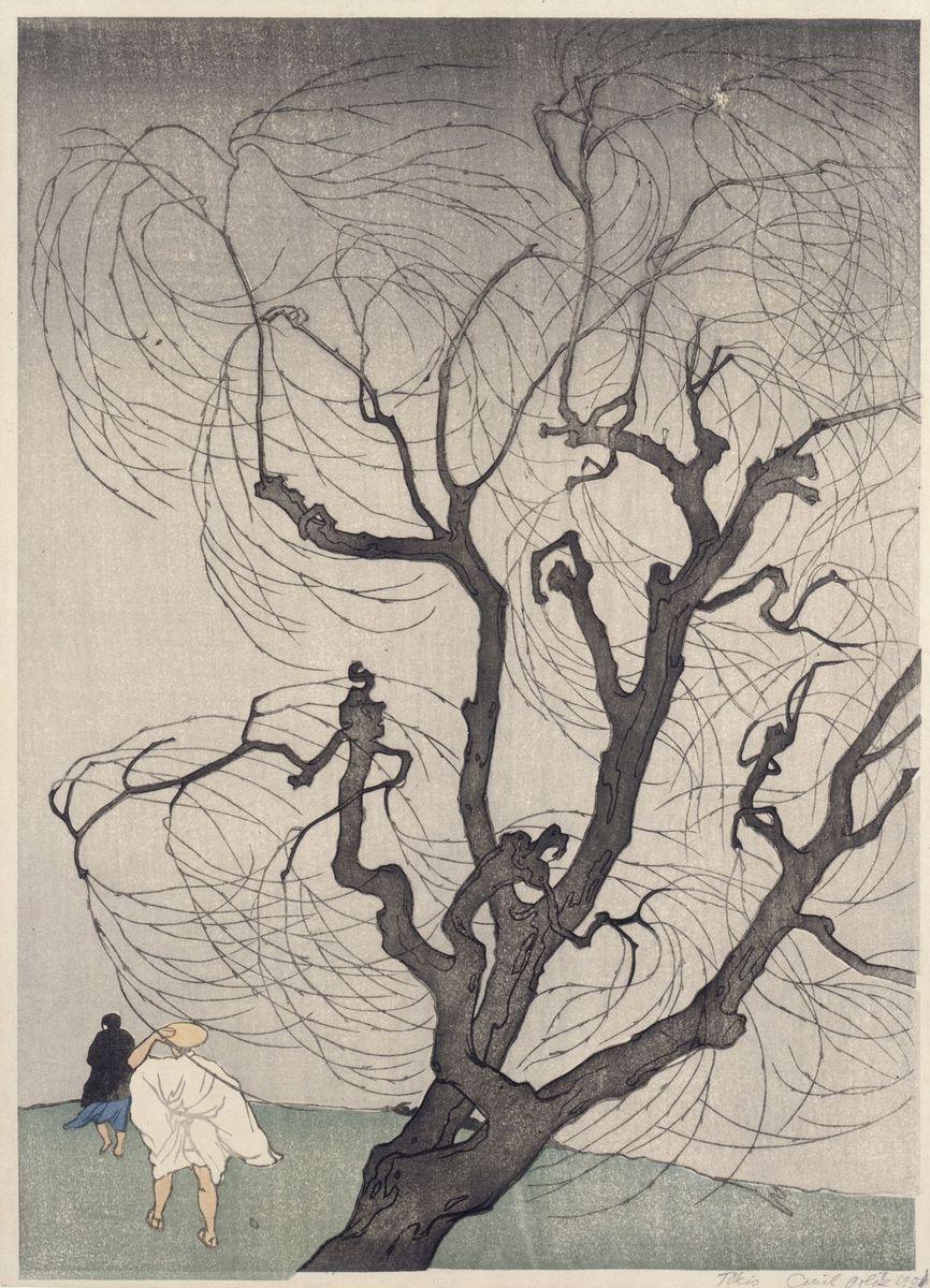 "Emil Orlik: ""Der Windstoß"", 1901; Copyright: bpk / Kupferstichkabinett, SMB / Jörg P. Anders"