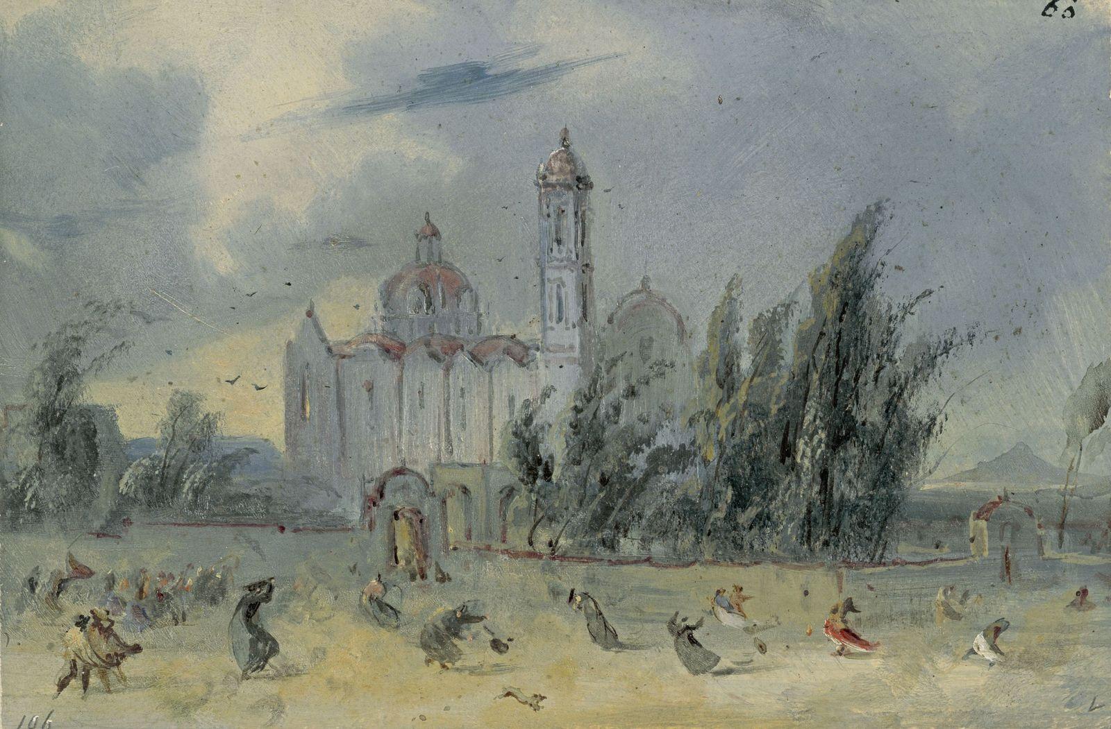 Johann Moritz Rugendas:  Amozoque. Unwetter vor einer Kirche während einer Prozession, ab 1831; Copyright:  bpk / Kupferstichkabinett, SMB / Volker-H. Schneider