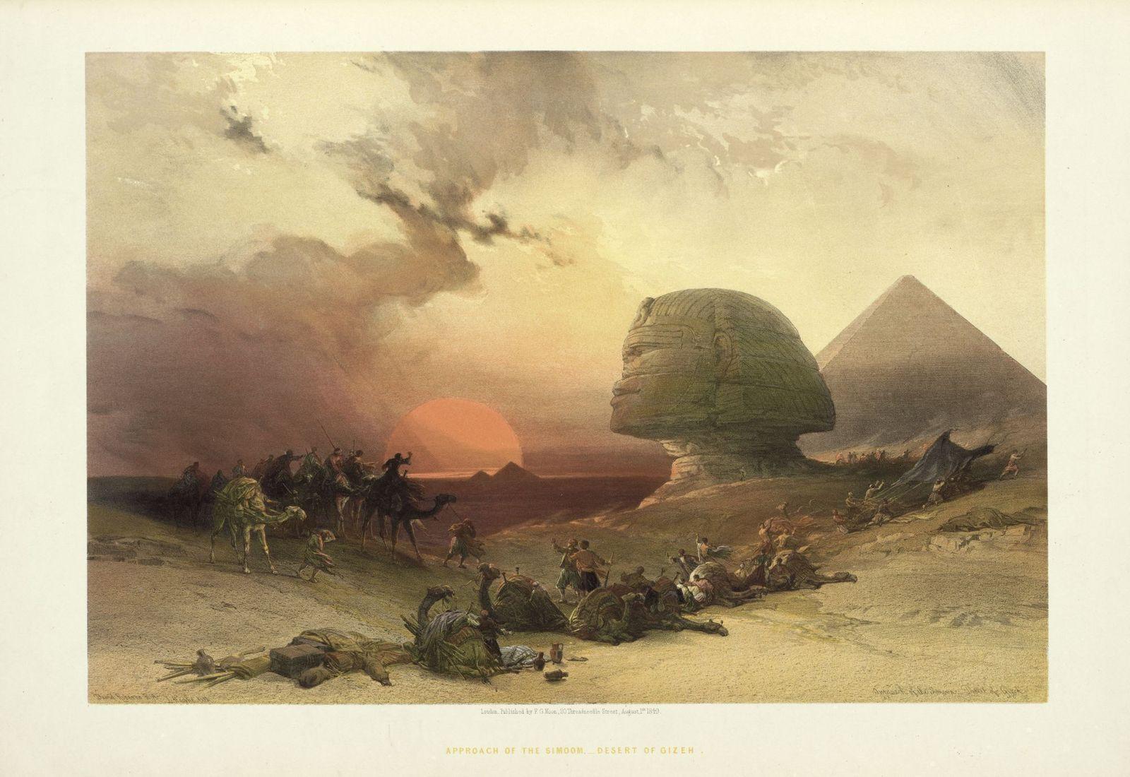 """Louis Haghe: """"Sphinx und Pyramide von Giza"""" oder """"Erinnerung an die Wüste von Giza bei aufziehendem Wüstensturm"""", 1849; Copyright:  bpk / Kunstbibliothek, SMB / Dietmar Katz"""