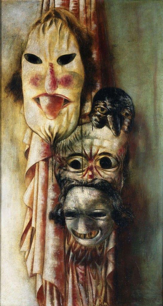 Karl Völker: Stillleben mit Masken (Maskenstillleben mit Zunge), Gemälde / Öl und Tempera auf Leinwand und Pappe, 1928, © Nationalgalerie, Staatliche Museen zu Berlin / Volker-H. Schneider