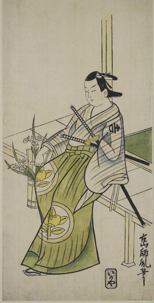 Furuyama Morotane (tätig ca. 1711-1736): Der Kabuki—Schauspieler Ichimura Takenojō VIII (1699-1762) in der Rolle des Kichisaburō. Japan, Edo, ca. 1718. Handkolorierter Schwarzdruck, 31.6 x 15.5 cm. Verlag: Igaya. 1905 für 200 Mark von Max Liebermann (1847-1935) erworben © Museum für Asiatische Kunst der SMB
