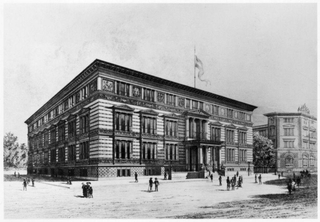 Das Gebäude für das Kunstgewerbemuseum in der Prinz- Albrecht-Straße (heute Niederkirchner-Straße 7) in Berlin; Lithographie von Martin Gropius, 1881