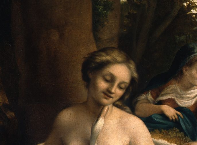 Detail: Ledas Kopf © Staatliche Museen zu Berlin, Gemäldegalerie