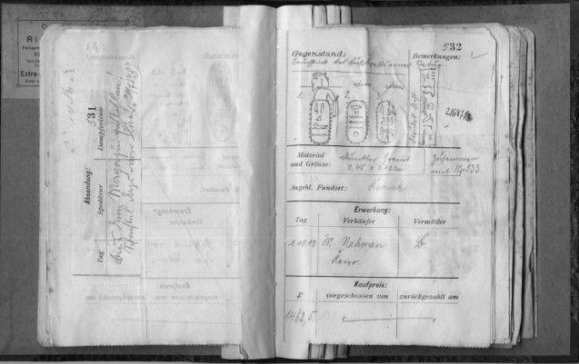 Abb. 3  Laufzettelverzeichnis 1912, S. 531 und 532 © Staatliche Museen zu Berlin – PK, Ägyptisches Museum und Papyrussammlung, Dokumentenarchiv