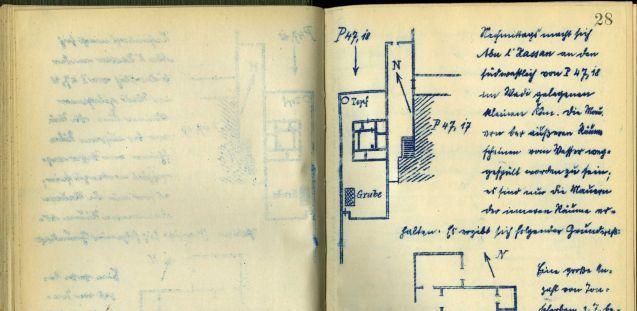 Grabungs-Tagebuch der D.O.G.-Kampagne in Tell el-Amarna, 1913/14, S. 28: Grundriss und Erläuterung des Hauses P 47,18 © Staatliche Museen zu Berlin – PK, Ägyptisches Museum und Papyrussammlung, Dokumentenarchiv