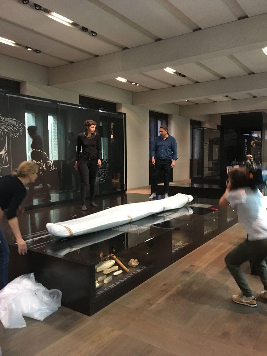 Restauratoren koordinieren den Einzug des Einbaums ins Neue Museum