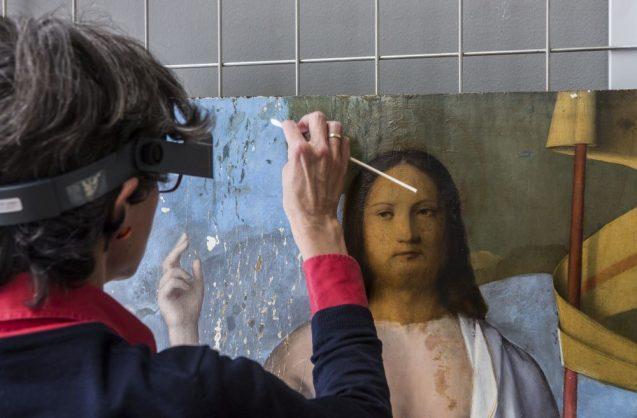"""Restaurierung von Francesco Bissolos """"Auferstehung Christi"""" (1475-79) in den Restaurierungswerkstätten der Gemäldegalerie Berlin. © Staatliche Museen zu Berlin / David von Becker"""