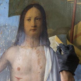 """Restaurierung von . Francesco Bissolos """"Auferstehung Christi"""" (1475-79) in der Gemäldegalerie. © Staatliche Museen zu Berlin, Gemäldegalerie"""