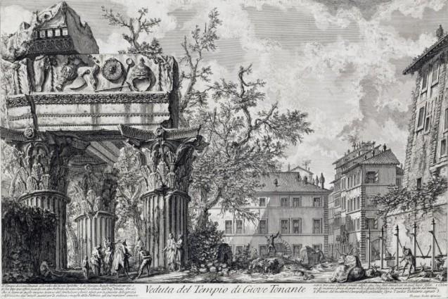 """Giovanni Battista Piranesi: """"Veduta di Roma"""" - Tempel des Jupiter Tonante (1753/54) Copyright bpk / Kupferstichkabinett, SMB / Volker-H. Schneider"""
