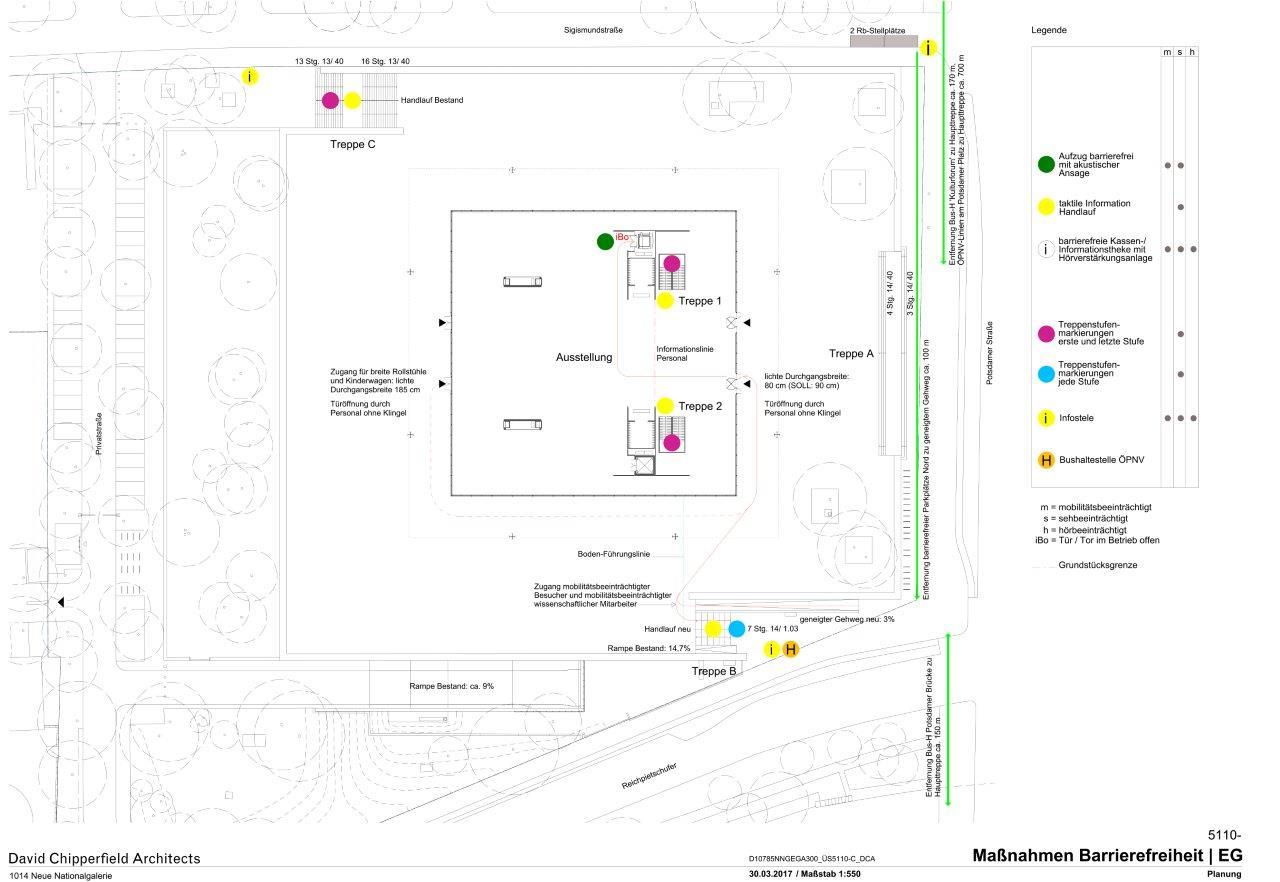 Maßnahmen zur Barrierefreiheit für die Terrasse und das EG © David Chipperfield Architects für das Bundesamt für Bauwesen und Raumordnung (BBR)