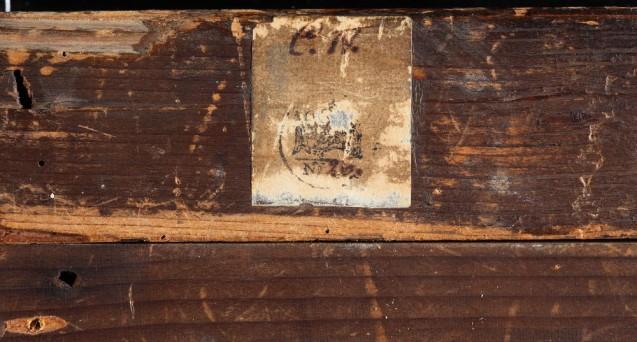 """Detail Rückseite, Darbringung im Tempel (""""Pfändungsstempel Sammlung Solly"""") © Staatliche Museen zu Berlin, Gemäldegalerie"""
