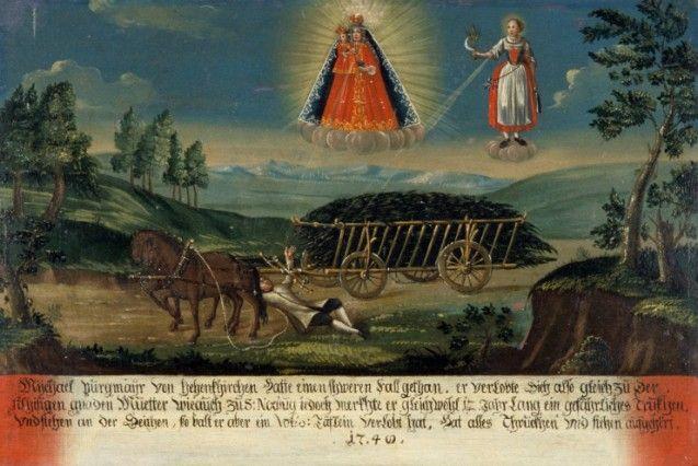 Ein Kutscher gerät unter die Räder seines Fuhrwerks, während die Hl Notburga und die Mutter Gottes ihn schützen