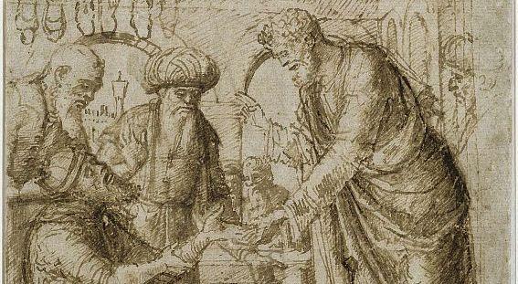 Giovanni Bellini: Der Heilige Markus heilt die Hand des Schusters Anianus. Federzeichnung in Braun (um 1490)