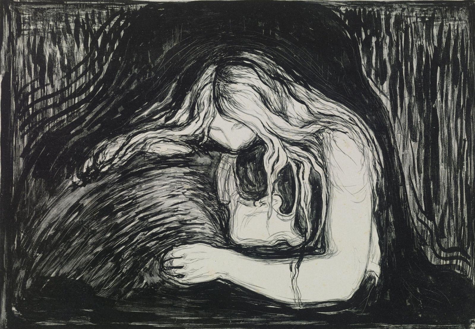 """Edvard Munchs berühmtestes Gemälde """"Der Schrei"""" ist eine wahrhaft unheimliche Darstellung. Doch auch seine Vampirzeichnungen – hier """"Vampir II"""" von 1895 – lassen einem das Blut in den Adern gefrieren – zumindest, bis eine der nächtlichen Kreaturen es uns aussaugt. Foto: bpk / Kupferstichkabinett, Volker-H. Schneider"""