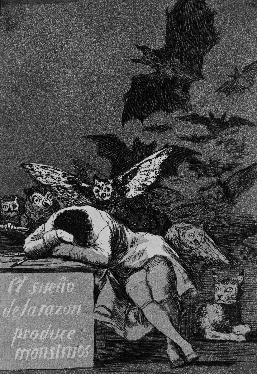 """Francisco José de Goya y Lucientes, besser bekannt als Goya, ist vor allem für sein schreckliches Gemälde des Saturn bekannt, der seine Kinder verschlingt. Diese Radierung von 1799 unter dem Titel """"Der Schlaf der Vernunft gebiert Ungeheuer"""" lässt vielleicht ahnen, wo er seine düstere Inspiration fand … Foto: bpk / Kupferstichkabinett, Jörg P. Anders"""