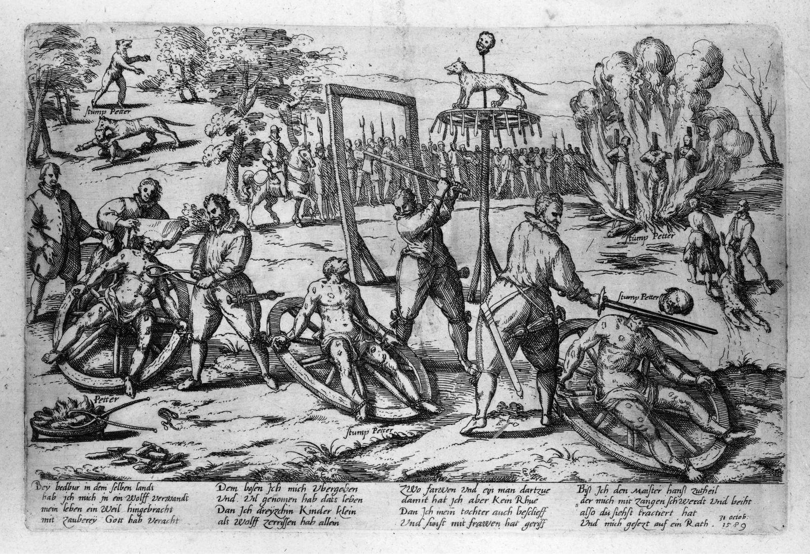 """""""Die Hinrichtung des Peter Stump - Werwolf zu Bedburg"""" hielt Franz Hogenberg in dieser Radierung von 1589 in allen Einzelheiten fest: Nach seiner Verurteilung als Mörder, """"Werwolf"""" und """"Zauberer"""" wurde Stump gerädert, geköpft und anschließend verbrannt. Foto: bpk / Kupferstichkabinett, Jörg P. Anders"""