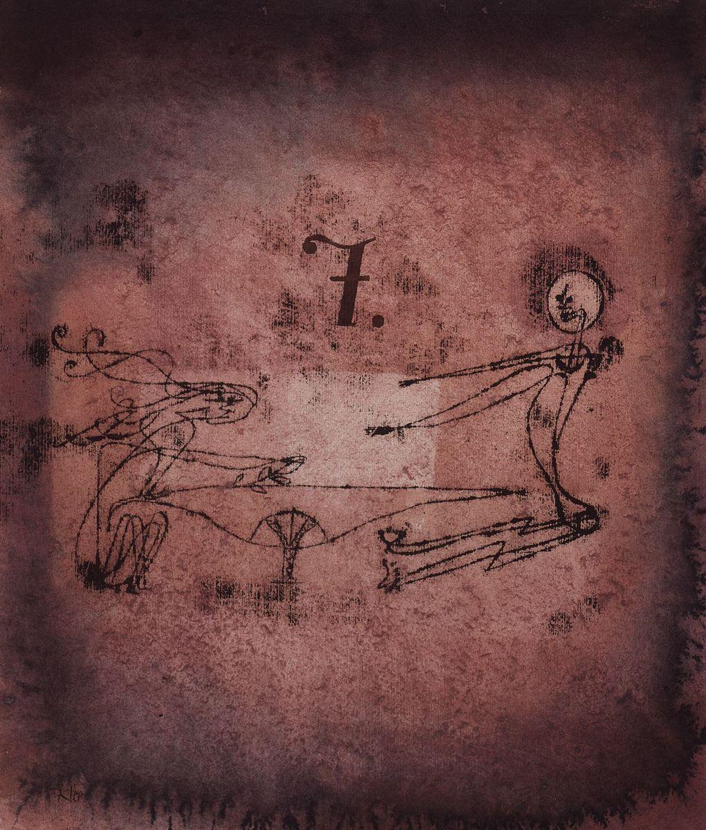 """Mystisch, verworren, schemenhaft sind die """"brauenden Hexen"""", die Paul Klee 1922 in dieser blutroten Ölpause auf Karton darstellt. Foto: bpk / Museum Berggruen, Jens Ziehe"""