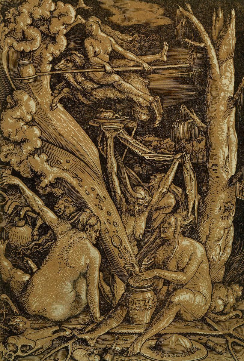 """Es ist, als könne man den Schwefelgeruch selbst wahrnehmen, wenn man diesen sinistren Gestalten bei ihrem """"Hexensabbat"""" zusieht. Sie brauen Tränke, reiten auf Ziegen und schwingen Kesseln, aus denen Kinderbeine zu ragen scheinen. Hans Baldung bannte diese Szene im Jahre 1510 in einem Tonholzschnitt für die Ewigkeit. Man mag nicht an das grausame Schicksal derer denken, die in diesen finsteren Zeiten dem Wahn der Hexenverfolgung zum Opfer fielen. Foto: bpk / Kupferstichkabinett, Jörg P. Anders"""