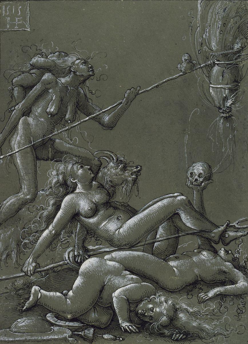 """""""Hexensabbat"""", die Zweite: Welche absurden Rituale stellt Hans Baldung in dieser Feder-/Tuschezeichnung aus dem Jahre 1505 dar? Foto: bpk / Kupferstichkabinett, Jörg P. Anders"""
