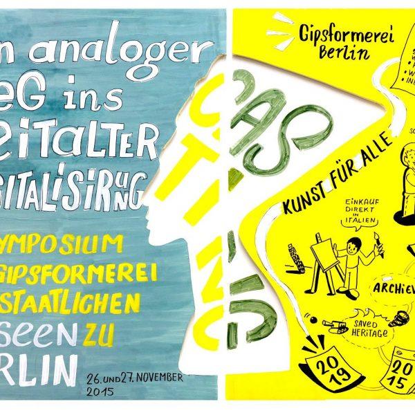 """Es geht los: Die Titelillustration zum Symposium """"Casting – Ein analoger Weg ins Zeitalter der Digitalisierung?"""" der Gipsformerei."""