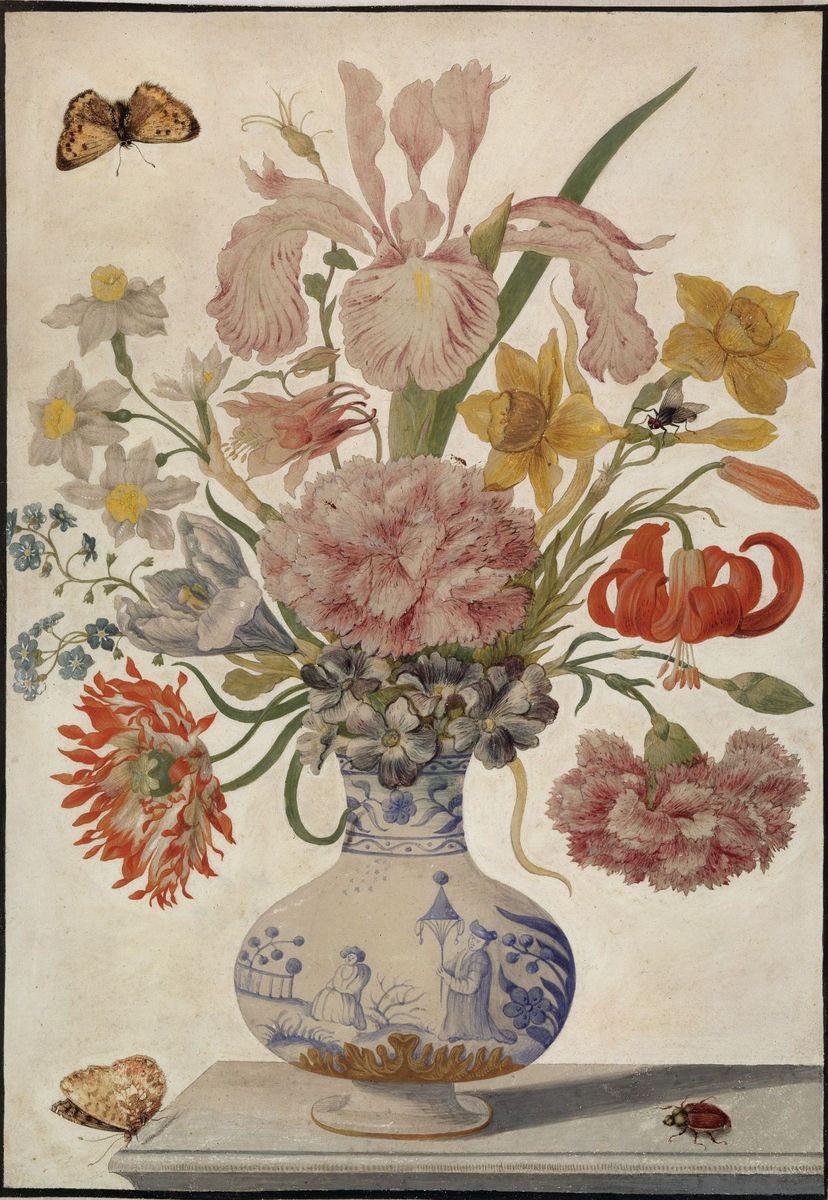Maria Sibylla Merian: Chinesische Vase mit Lilien und Nelken, Schmetterling, Maikäfer, um 1670-1680 (c) bpk / Kupferstichkabinett, SMB / Jörg P. Anders