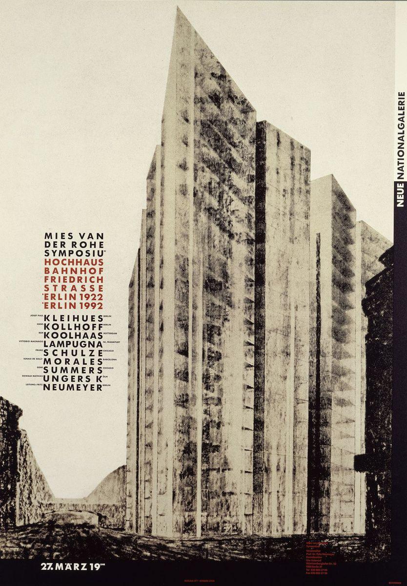 Plakat mit einem Entwurf für ein Glashochhaus an der Friedrichstraße in Berlin von Mies van der Rohe aus dem Jahre 1921 (c)  bpk / Kunstbibliothek, SMB / Dietmar Katz