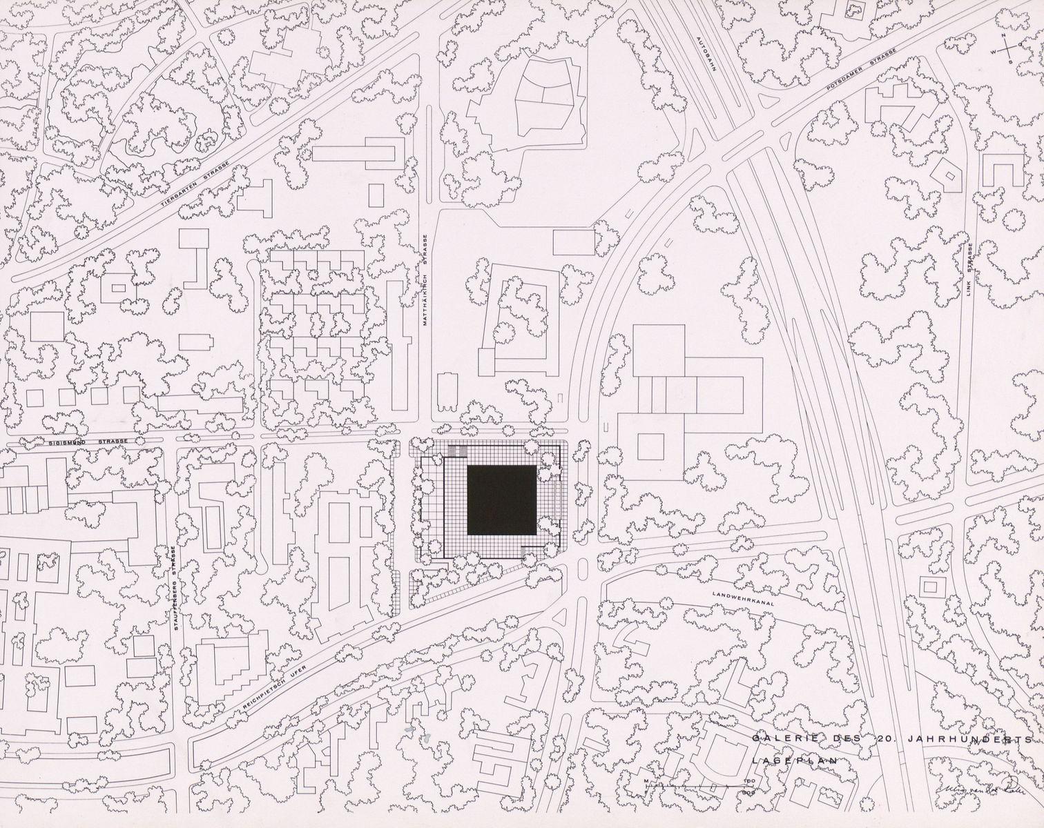 Ludwig Mies van der Rohe: Präsentationsmappe für den Bau der Neuen Nationalgalerie, Lageplan. (c) bpk / Kunstbibliothek, SMB / Dietmar Katz