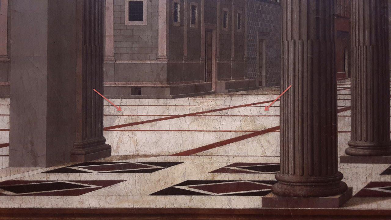 Detail der übermalten Figuren in der linken Bildhälfte © Foto: Gemäldegalerie der Staatlichen Museen zu Berlin – Preußischer Kulturbesitz: Autor
