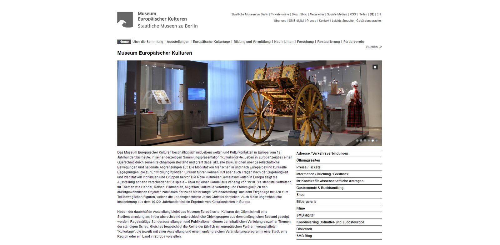 Screenshot der alten Homepage des Museums Europäischer Kulturen