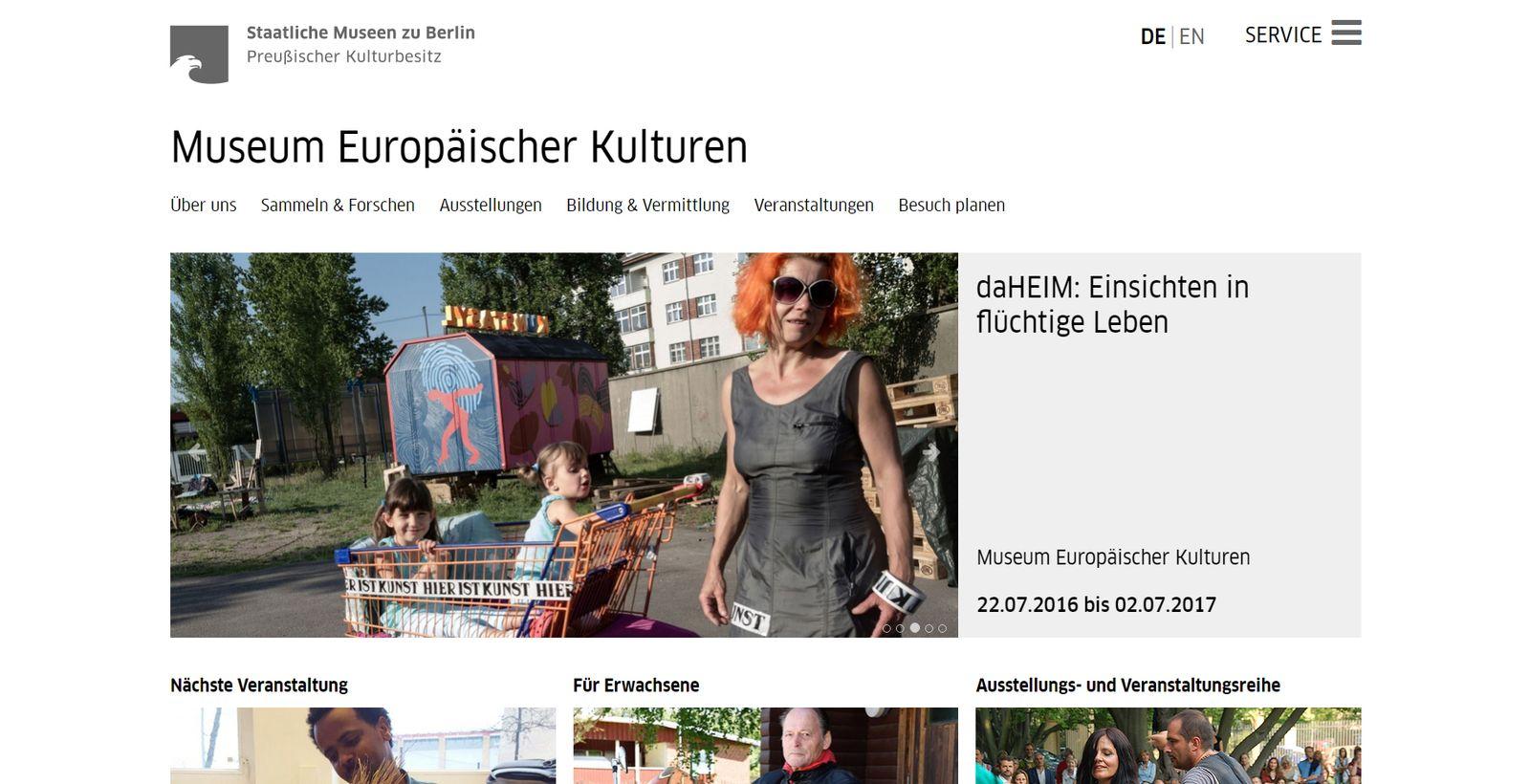 Screenshot der neuen Homepage des Museums Europäischer Kulturen