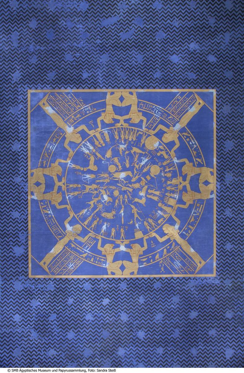 Neues Museum, Mythologischer Saal, Zodiak der Deckentapete © Staatliche Museen zu Berlin, Ägyptisches Museum und Papyrussammlung / S. Steiß