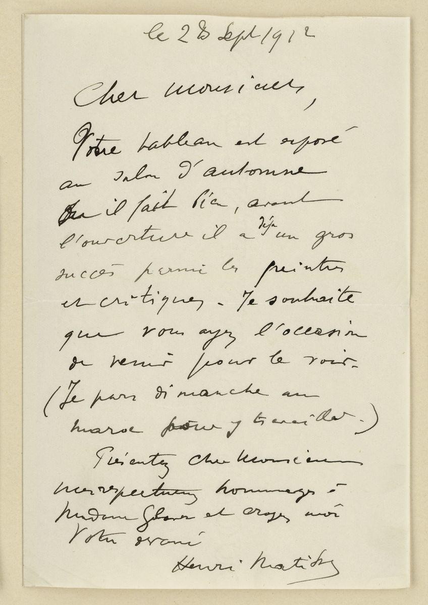 Brief von Matisse an Glaser.