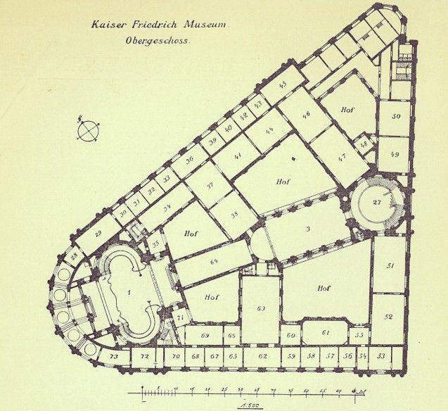 Sah damals schon so aus wie heute: der Grundriss des Bode-Museums, entworfen von dem Architekten Ernst von Ihne, in der fünften Auflage des Beschreibenden Verzeichnisses der Gemälde im Kaiser Friedrich-Museum von 1904