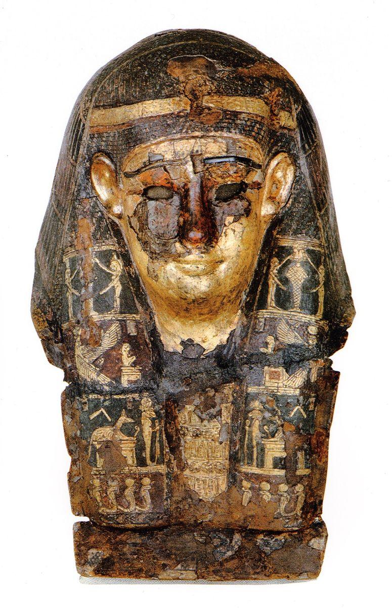 Mumienmaske, Ptolemäisch, 323-30 v. Chr., Kartonage, Stuck, Textil, grundiert, bemalt und vergoldet. © Ägyptisches Museum und Papyrussammlung SMB (Inv. Nr. ÄM 813)