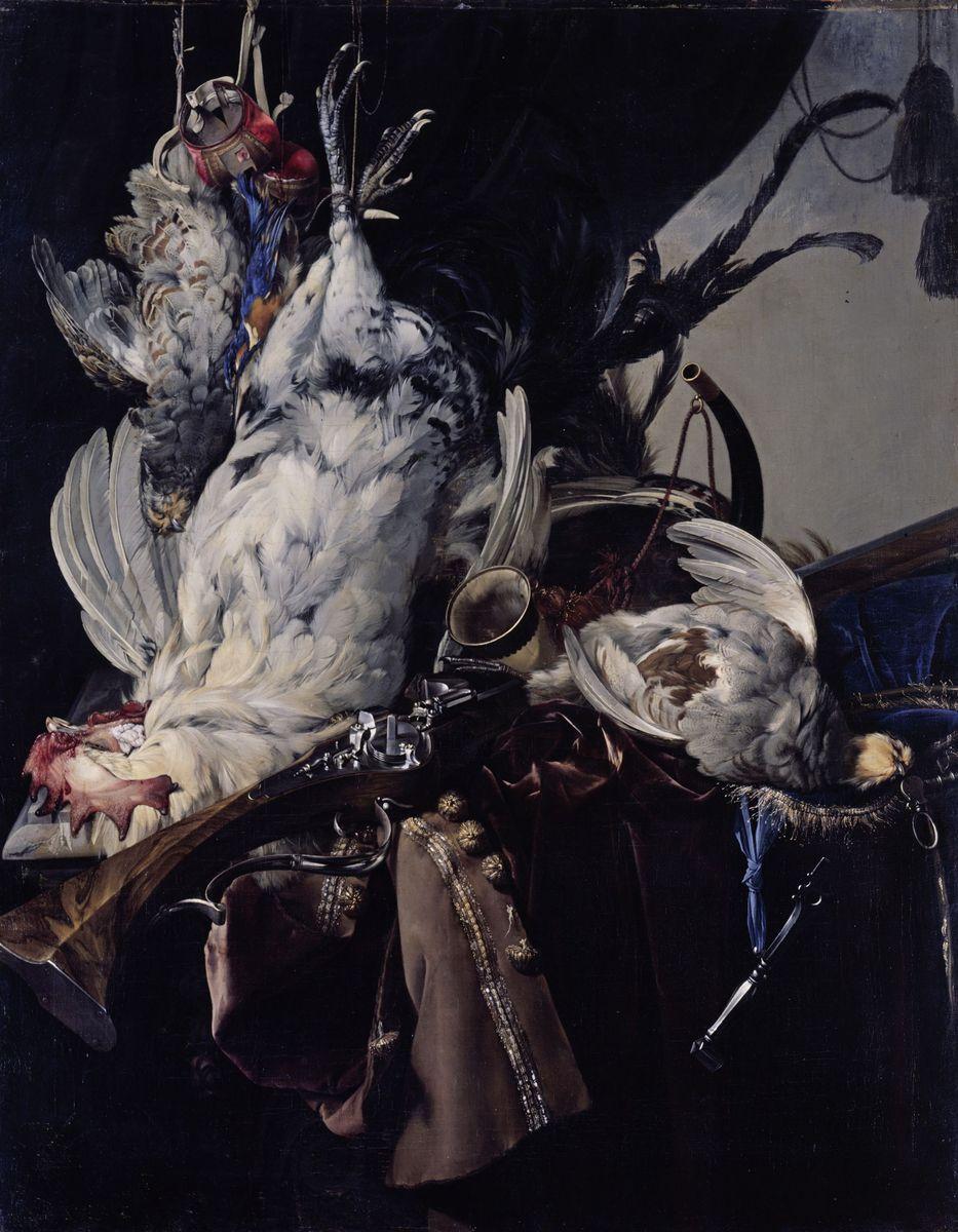 Willem van Aelst: Stilleben mit Vögeln und Jagdgeräten (1660);  (c) bpk / Gemäldegalerie, SMB, Eigentum des Kaiser Friedrich Museumsvereins / Jörg P. Anders