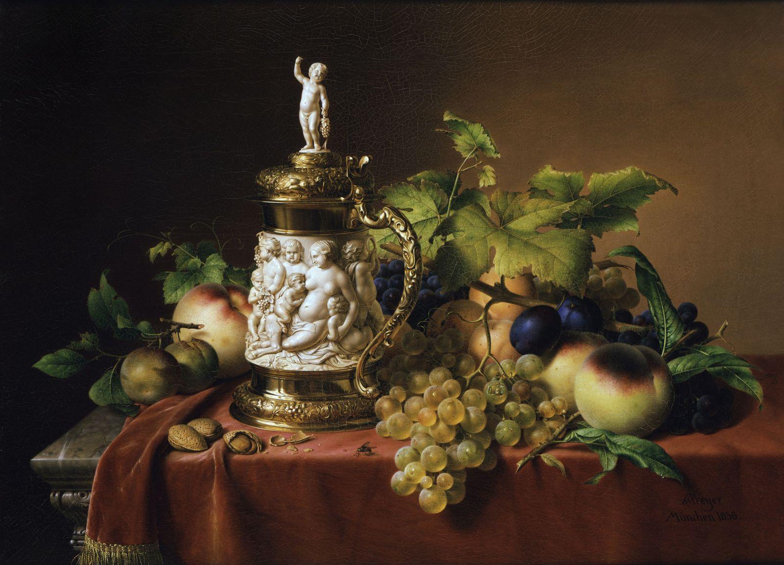 Johann Wilhelm Preyer:  Dessertfrüchte mit Elfenbeinhumpen (1838); (c)  bpk / Nationalgalerie, SMB / Jörg P. Anders