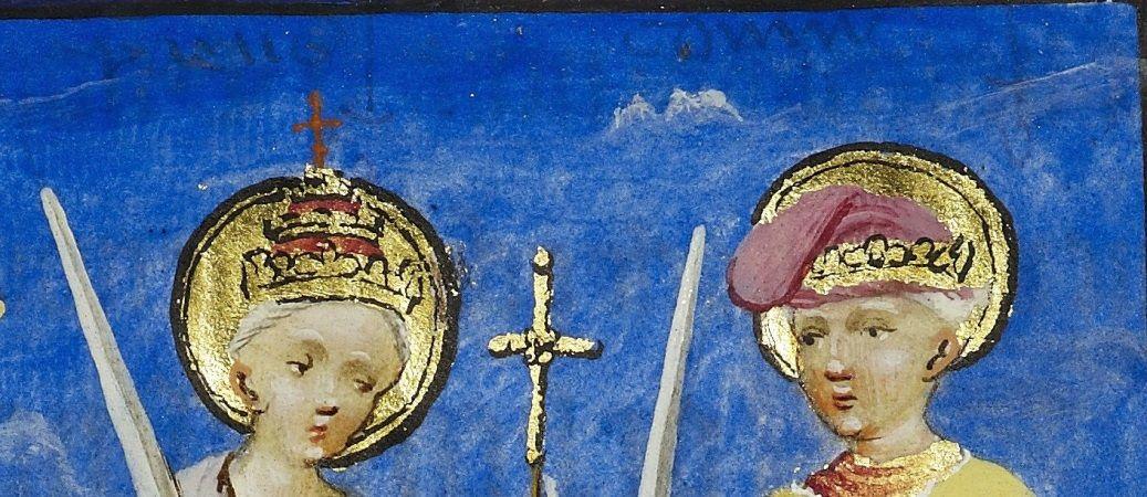 """Erkennbare Schrift unter der blauen Malschicht: """"paus """" (links) und """"coninc """" (rechts). Es handelt sich, um eine Malanweisung für die Miniaturmaler, die an dieser Stelle einen Papst auf der linken Seite und einen König auf der rechten Seite, jeweils mit einem Schwert, zeichnen sollten (© Staatsbibliothek zu Berlin – Preußischer Kulturbesitz)."""