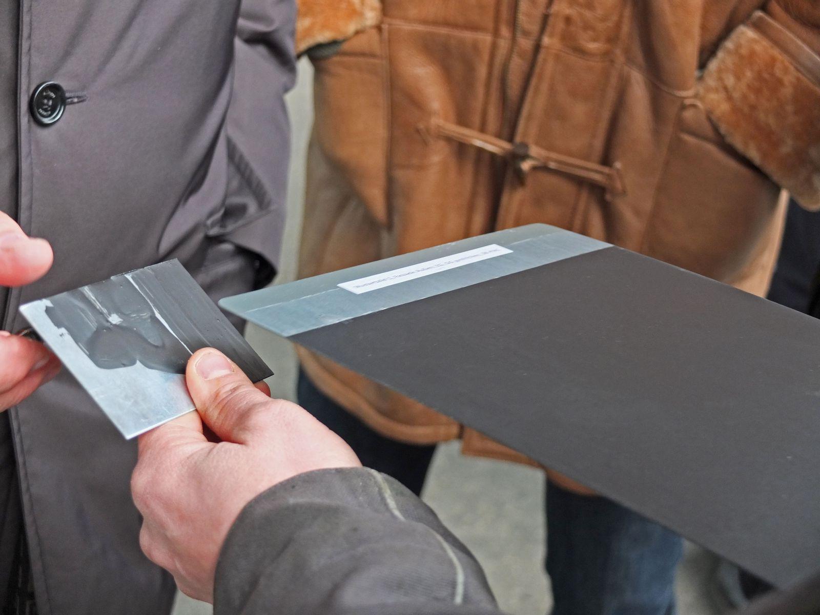 Mustertafel für die Oberflächenbehandlung der Stahlkonstruktion. Foto: Schmedding.vonMarlin